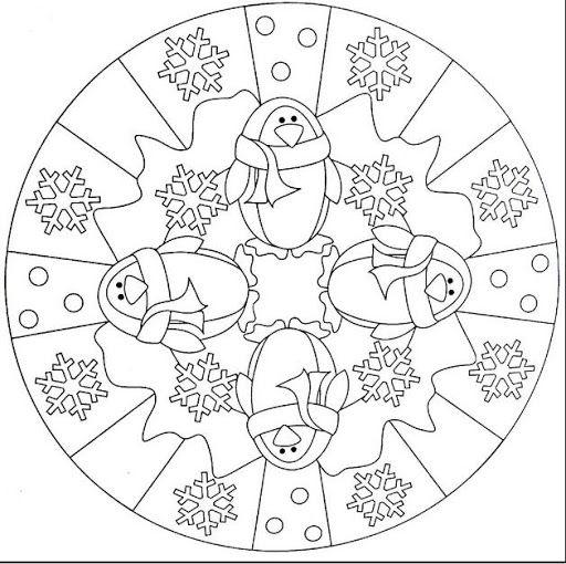 Kleuren: Pinguin mandala