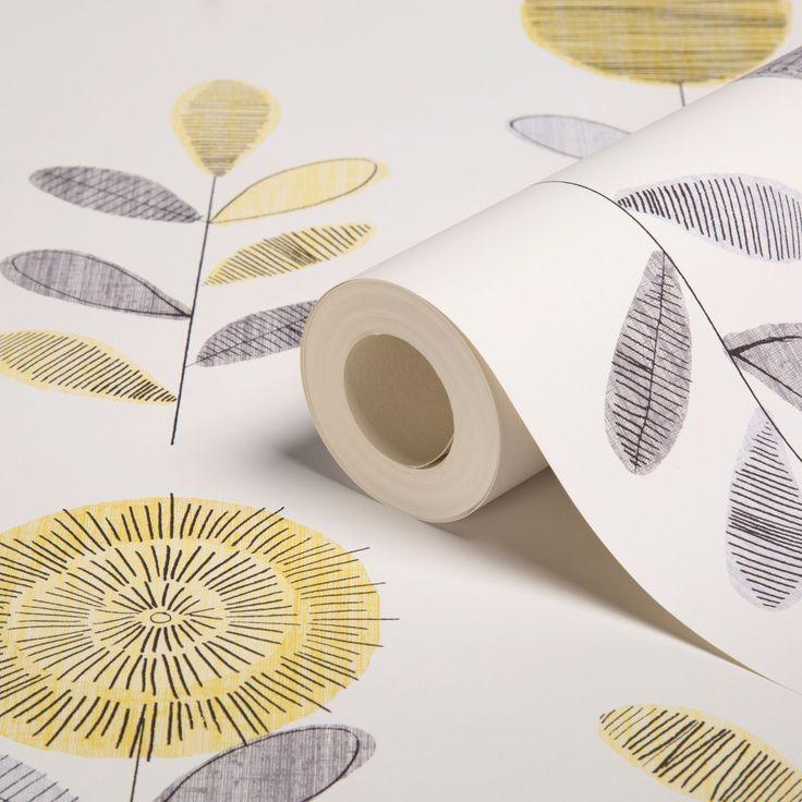 Flower Sketch Grey & Yellow Wallpaper | Departments | DIY at B&Q