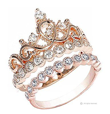 Sterling Silver Crown Ring / Princess Ring and Band Set (Rose Gold Plated)