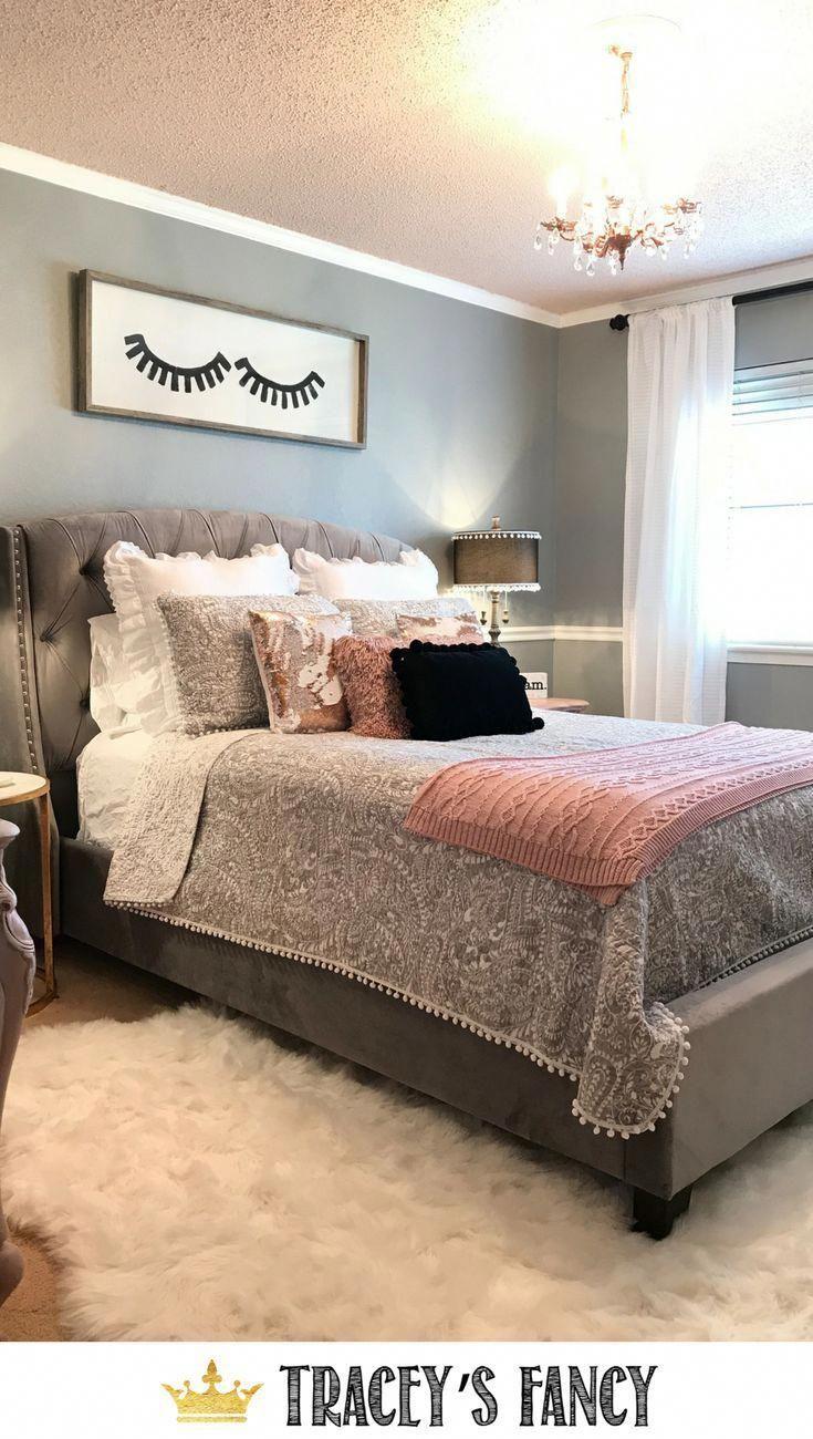 Rose Gold Gray Bedroom By Traceysfancy Com Eyelash Art Gray Tufted Headboard Bed Grey Bedroom With Pop Of Color Grey And Gold Bedroom Rose Gold Bedroom
