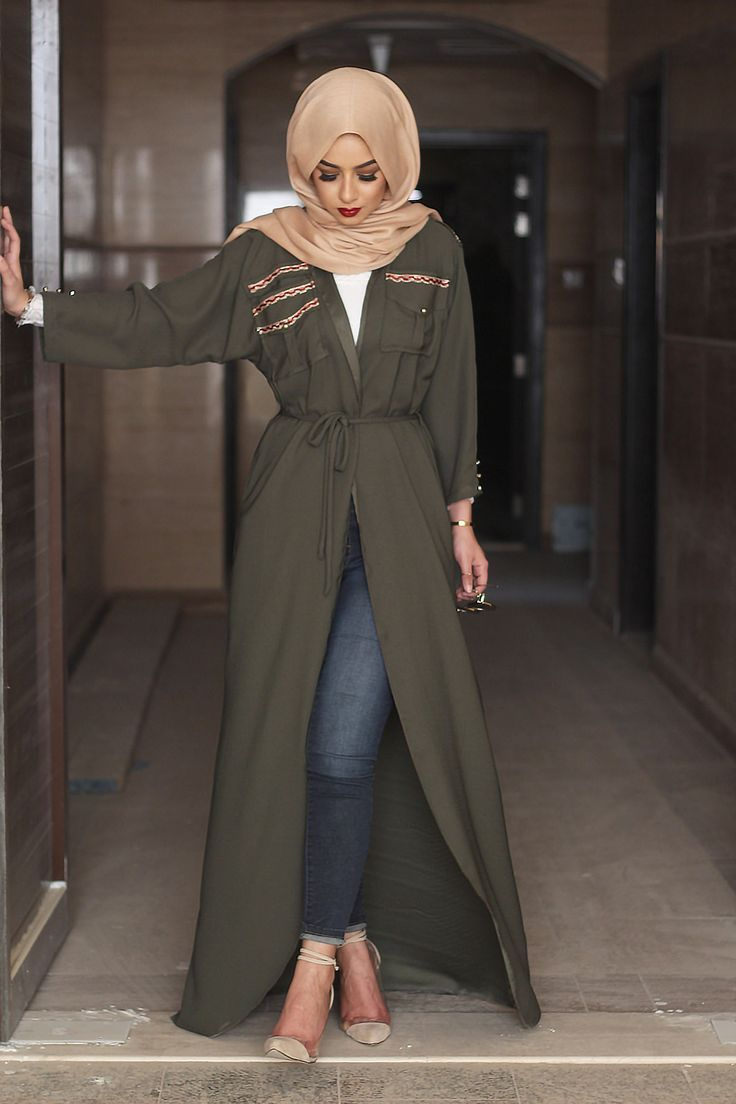 Arabic Style : Bottle green bisht sohamt.com #bisht #hijab #abaya