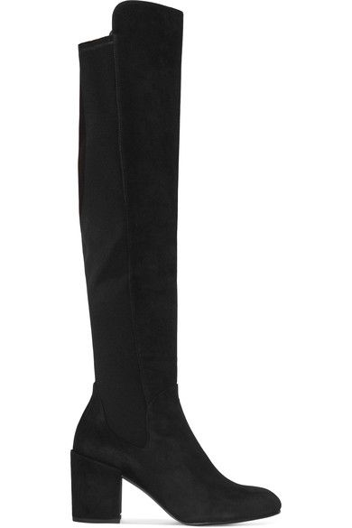 Stuart Weitzman - Halftime Suede And Stretch-crepe Over-the-knee Boots - Green