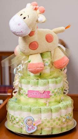 Diaper Cake... I got one of these when my wee one was born and it was amazing! My coworker who made it put onesies and toys and trinkets inside each layer too. I was extra lucky because my wee one had outgrown most of the diapers by the time I received it so I got to leave it together for a long time.