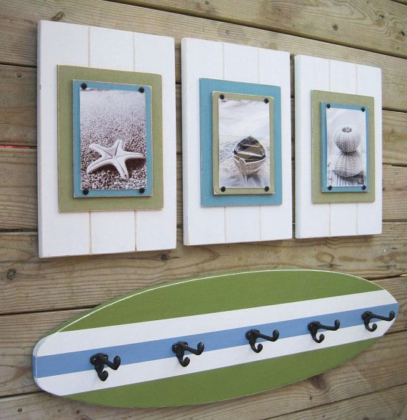 4 ft Surfboard Coatrack with Schoolhouse Hooks by ProjectCottage,