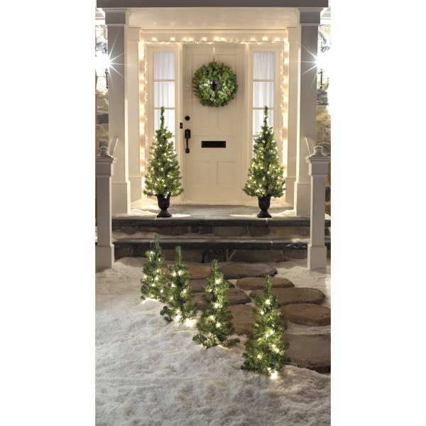 Lighted Trees for front porch | Christmas | Pinterest