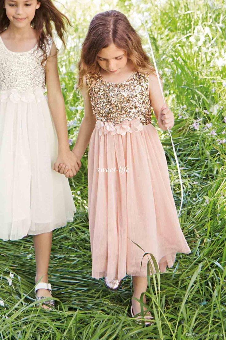 2015 blush flower girls dresses gold sequins hand made for Wedding dresses for young girls