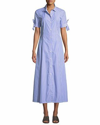 8b6f6b87475 Theory Designer Dalton Long Striped Tie-Sleeve Cotton Shirtdress ...