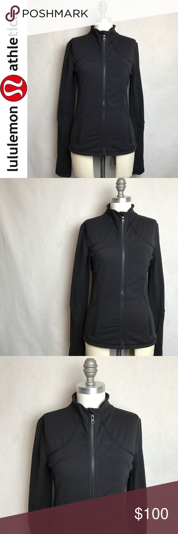 "Lululemon Black 'Define' Zip-Up Jacket Lululemon Black 'Define' Zip-Up Jacket. Approx 25"" long 16"" across the bust 28"" sleeves with thumb holes. Zip pockets in front. Mesh under the arms. Super fitted and stretchy. Gently worn and in good used condition. Light piling. Lots of wear left in this classic Lululemon athletic jacket. Size 6. Please feel free to make a reasonable offer! lululemon athletica Jackets & Coats"