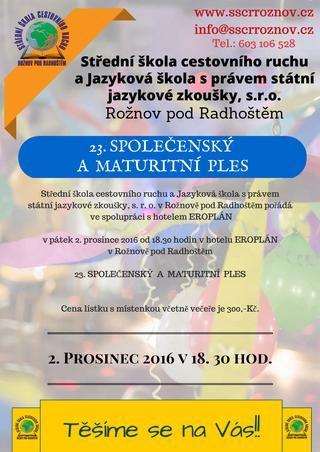 SŠCR Rožnov p.R. - program plesu  SŠCR Rožnov p.R. - program plesu, 2. prosinec 2016