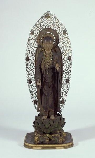Standing Jizo Bosatsu   Kamakura period (AD 1185-1333)  Japan  Wood, metal, glass  h. 36.5 cm  UEA 1255