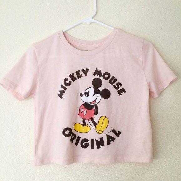 Kawaii Micky Mouse Crop Top Adorable light pink crop top with Mickey Mouse! Worn once! Size: Small Forever 21 Tops Crop Tops