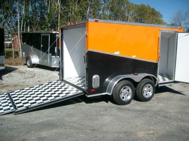 7 x 12 enclosed motorcycle trailer with finished interior. can add 3 Harley Davidson decals. visit the link to see the trailer with stickers
