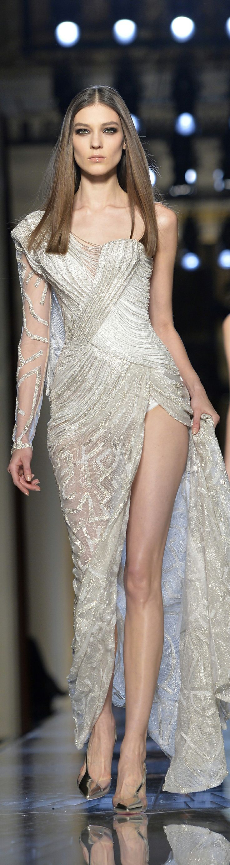 Atelier Versace Spring 2014 - silver shine on high wattage