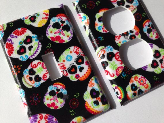 Skull Single Light Switch Plate Cover/ Day Of The Dead / Sugar Skull Home  Decor/ Teen Room Decor / Calaveras / Candy Skull / Kitchen Decor