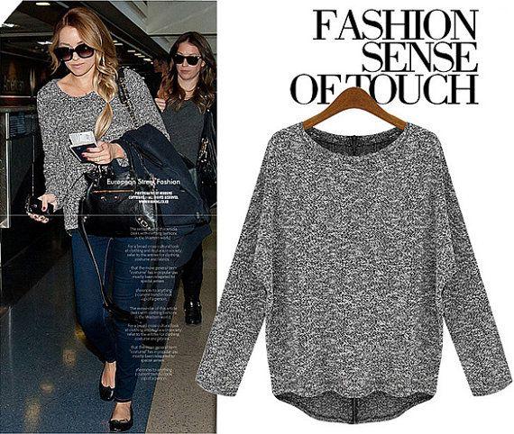 Womens Dark Grey Long Sleeve Sweater Fashion Loose by RetroRinas