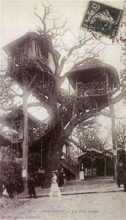 This restaurant was in Le Plessis, just outside Paris. In the mid-19th century it was famous for its treehouse restaurants. Food and wine were delivered via a basket pulley.