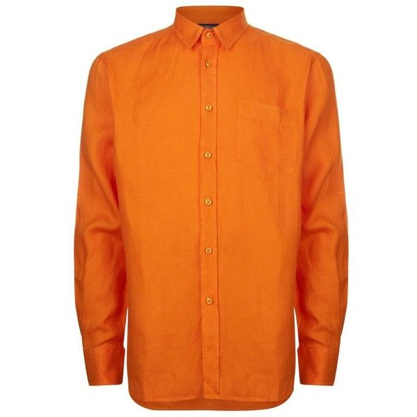 Vilebrequin Caroubier Linen Shirt ($200) ❤ liked on Polyvore featuring men's fashion, men's clothing, men's shirts, men's dress shirts, mens dress shirts, mens embroidered shirts, mens orange dress shirt, mens button down dress shirts and mens holiday shirts