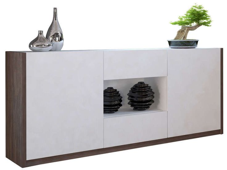 Buffet bas 2 portes 2 tiroirs ps salons et buffet de f te for Buffet blanc laque conforama