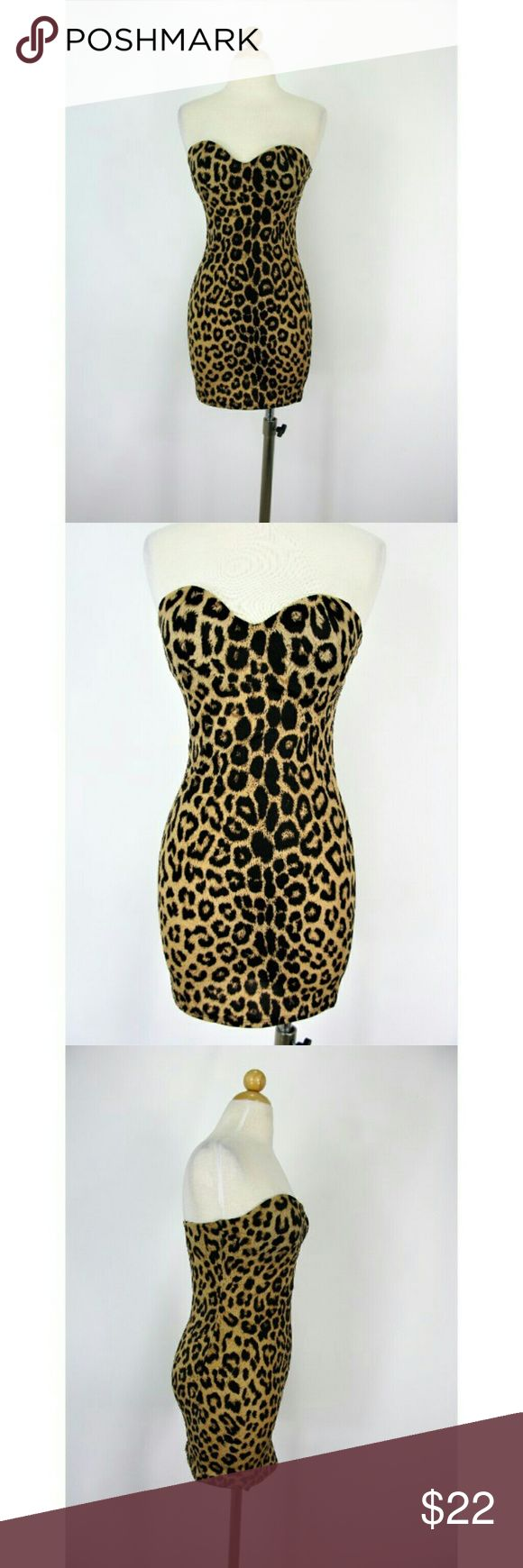 F.I.T Strapless Leopard Print Slip Shapewear Dress FIT Figure Improving Technology Strapless Shapewear Dress, Lightly Padded Cups, 3 Row Adjustable Back Strap, Key Hole Design -- Mint Like New -- Chest 14.5 -- Length 22 from underarm 85/15 Poly/Spandex F.I.T Dresses