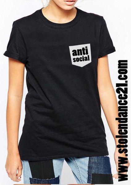 Anti Social Real Pocket Tee Crew Neck Top T shirt code50867