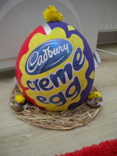 Girls or boys Handmade Easter Bonnet , creme egg