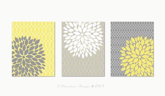 """Floral Bursts Botanicals Set (3) 11"""" x 14"""" PLUS other sizes // Grey, Yellow and White // Living Room, Bathroom, Bedroom // Modern Home Decor"""