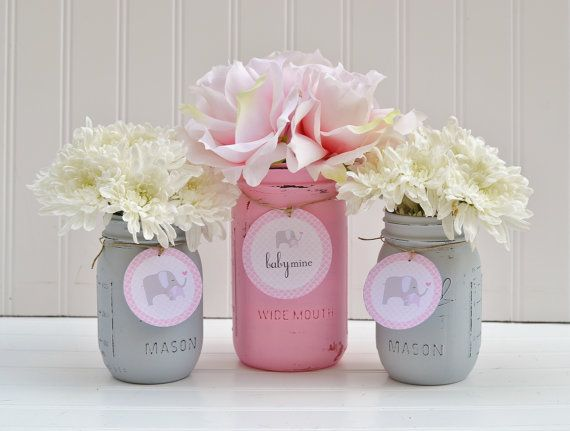 Baby Shower Decorations   Baby Shower Decor   Pink And Grey   Blue    Elephant   Baby Mine   Baby Boy, Baby Girl, Mason Jar Centerpiece |  Pinterest | Mason ...