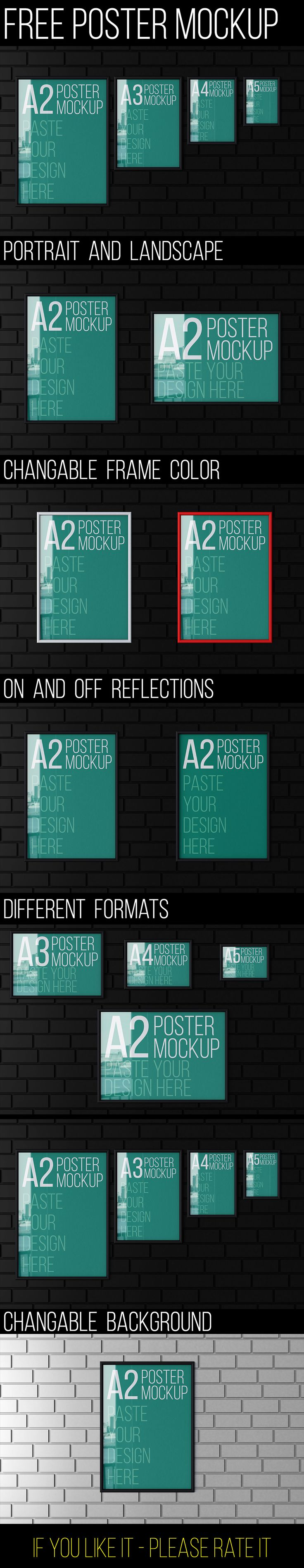 Poster design resources - Free Poster Mockup A4 Display Free Graphic