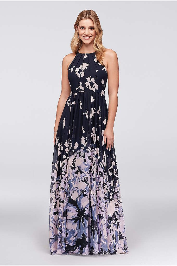 39ea9982 Abstract Floral Chiffon Tie-Back Gown - Sprinkled from the rounded, tie-nape  bodice, printed flower
