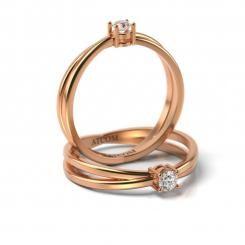 Inel de logodna cu diamant Ashir din aur roz