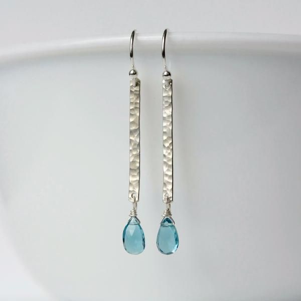 Faceted Sterling Silver London Blue Topaz Earrings by JulieaGarland