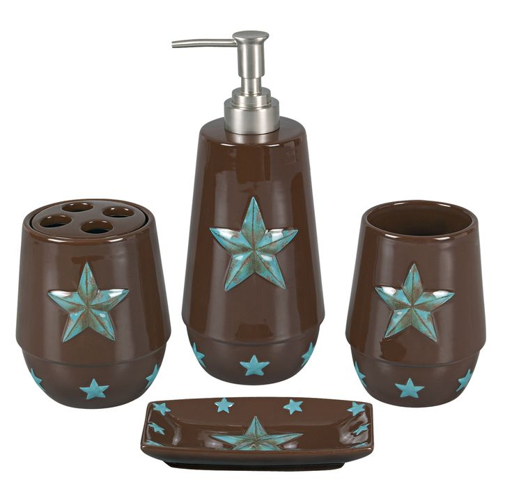 Our Bathroom Decor Sets Are Rustic Brown Ceramic With Turquoise Western Stars Lotion Pump