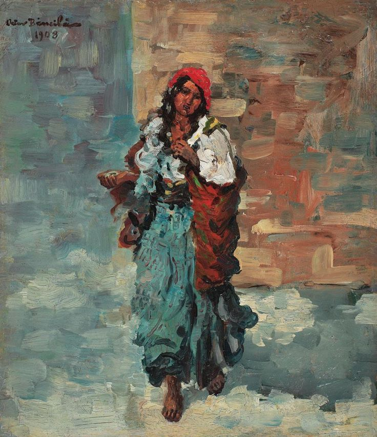 impressionism gypsy paintings | Gypsy Woman with Red Headscarf - Octav Bancila - WikiPaintings.org