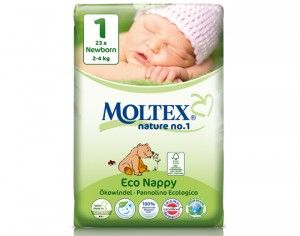 MOLTEX Couches Jetables Eco Nappy - Nature 1 2 - 4 Kg - 23 Couches