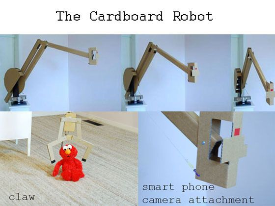 Cardboard Robot: open smart phone camera crane & robotic arm
