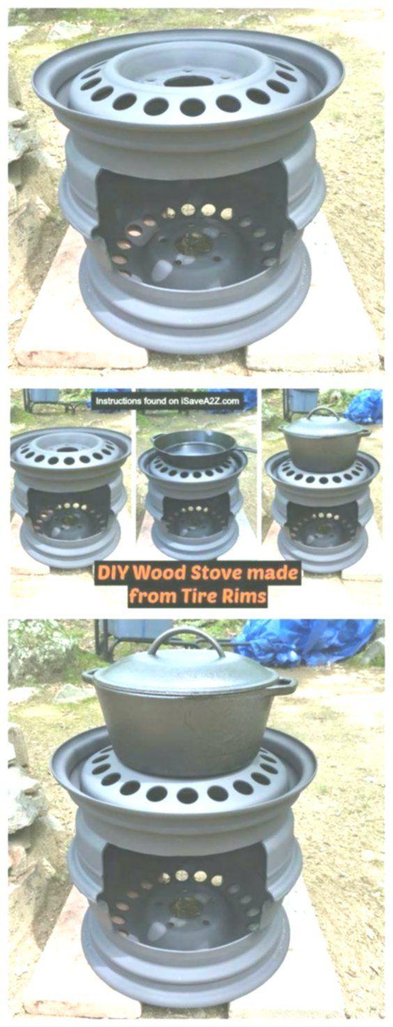 DIY Holzofen aus Reifenfelgen, den ich für das Ko…