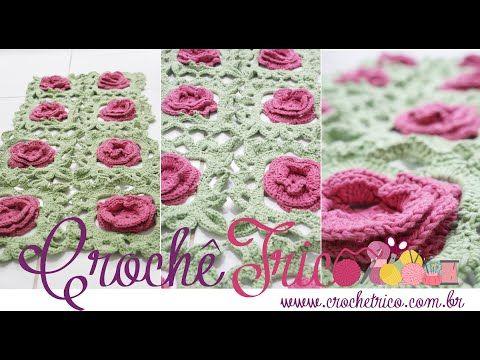 Crochê - Tapete Square Floral