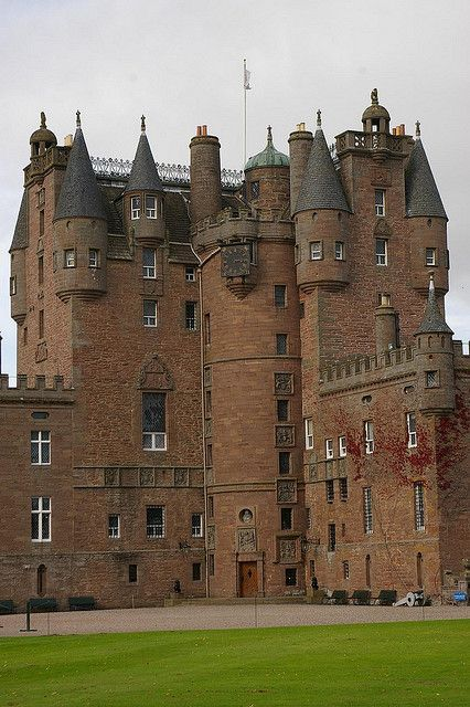 """ Glamis Castle, Glamis, Scotland. Glamis Castle has been the home of the Lyon family since the 14th century, though the present building dates largely from the 17th century...."