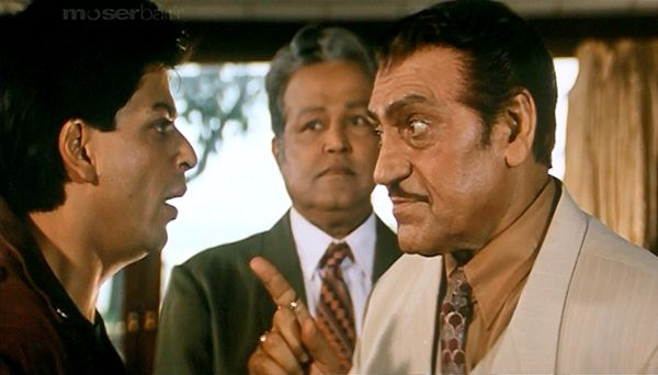 Shah Rukh Khan and Amrish Puri in BAADSHAH (1999)