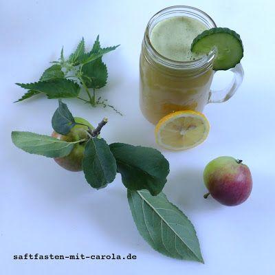 Saftfasten mit Carola: Apfel-Gurkensaft mit Brennnesseln und Zitrone