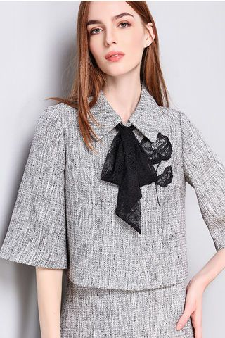$124.99 Grey Flared Sleeves Embroidered Jacket