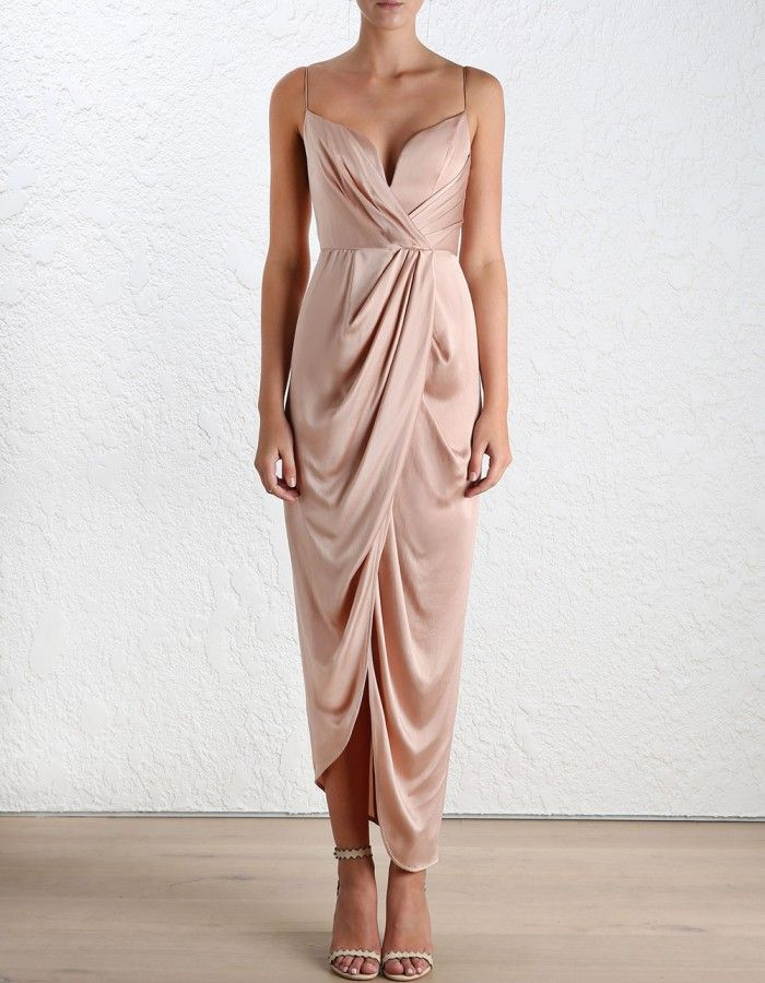 Sueded Silk Plunge Long Dress - Dresses - Clothing - Ready to Wear