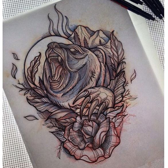sketch by @nicolehebeisen  #sketch #drawing #lines #bear #beartattoo #tattoo…