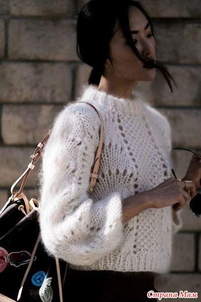 """Вязаный свитер из мохера """"Цитрус"""" или """"Апельсиновые дольки"""", смотрите какой симпатичный, для вдохновения спицами"""