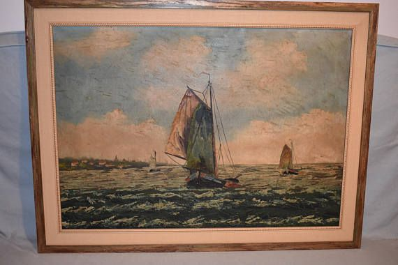 Very old 18th century seascape oil painting scenery form