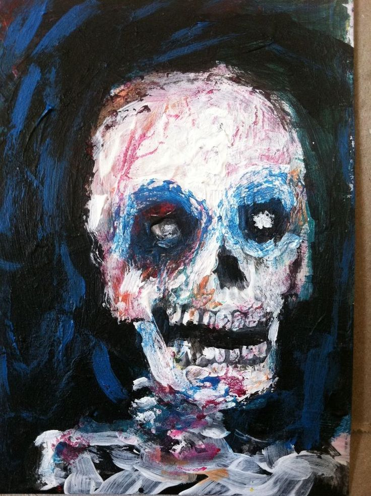 "Zombie Visage    original art,ACEO  jack larson 3.5""x2.5"" #Abstract"