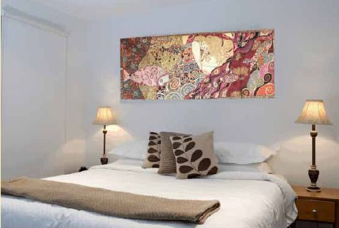 The Danae tapestry is a finely detailed Italian woven reproduction of a 1907 painting by Gustav Klimt. It is lined, with a rod pocket, from The Tapestry House.