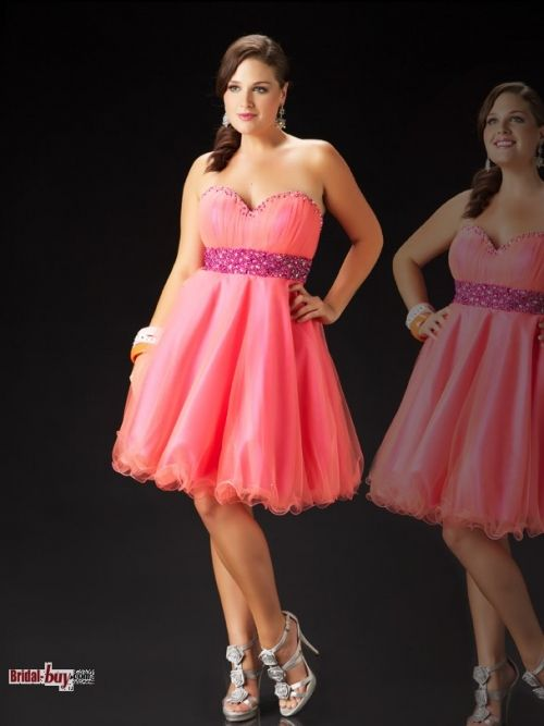 Buy Custom Made High Quality Gorgeous A-line Sweetheart Rhinestone Beaded Knee length Elegant Plus Size Coral Red Homecoming/Cocktail Dresses Under 150 HD-10622 at wholesale cheap prices from Bridal-Buy.com