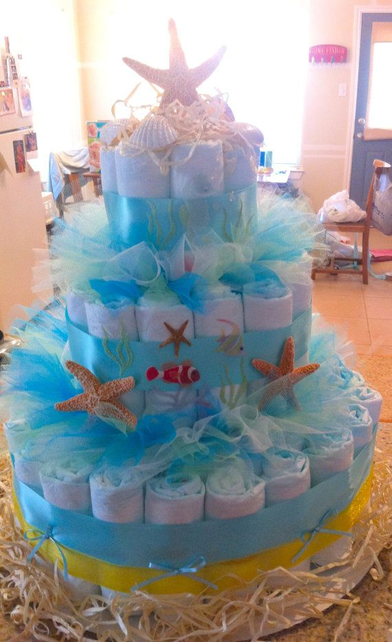 25 best ideas about sea baby showers on pinterest under for Baby shower diaper cake decoration