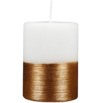 Bougie décorative blanche cuivre - Bougie - Objet de déco - Décoration | GiFi